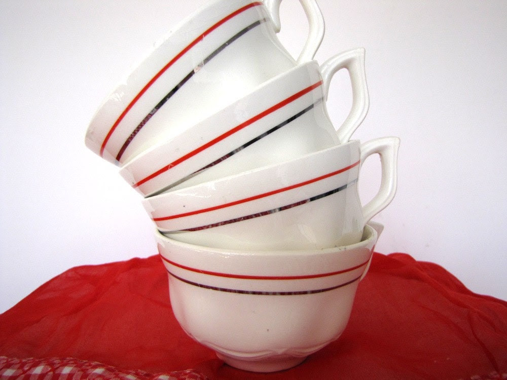 Coffee Cups Mid Century Red Silver Band from AllieEtCie