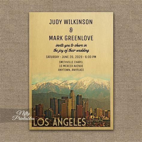 Los Angeles Wedding Invitation PRINTED   Nifty Printables