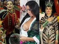 Cleo Pires, Fabiana Andrade e Christiane Torloni ajeitam as fantasias antes de entrarem na Sapucaí para o Desfile das Campeãs do Rio, neste sábado (16). Foto: AgNews