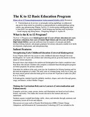 Thesis Statement About K To 12 Curriculum - Thesis Title Ideas For College
