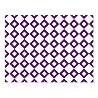 White and Purple Diamond Pattern Post Cards