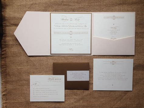 Gatsby pocket wedding invitations in blush and gold