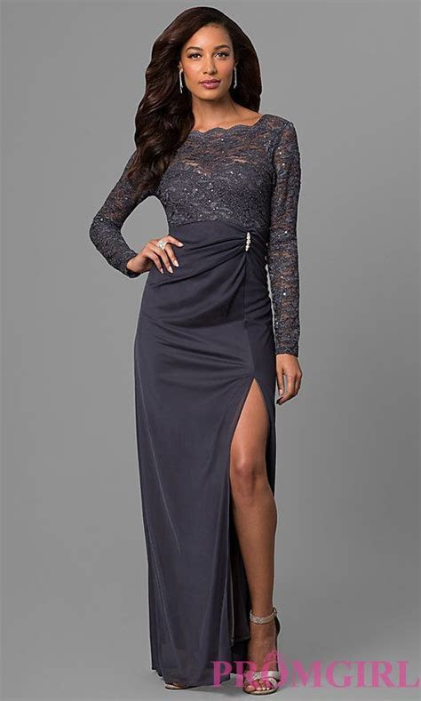 Long Sleeve Lace Wedding Guest Dress in Gunmetal   dresses