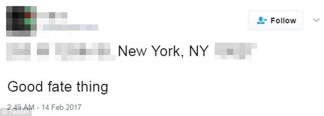 """Inquietante: o Dia dos Namorados viu um tweet no qual ele transcreveu um endereço na Cidade de Nova York e acrescentou: """"Coisa do bom destino"""""""