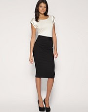 ASOS Tailored Pleat Side Ponti Pencil Skirt