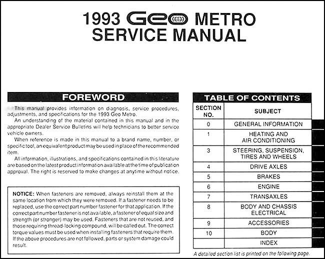1993 Geo Metro Wiring Diagrams Box Wiring Diagram