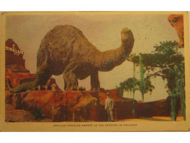Antique postcard: Sinclair dinosaur exhibit, 1933 World's Fair