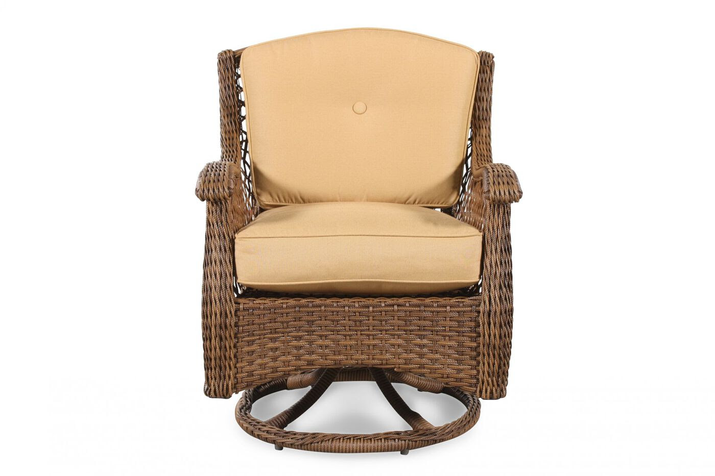 Curved Arm Casual Patio Swivel Rocker Chair in Brown ...