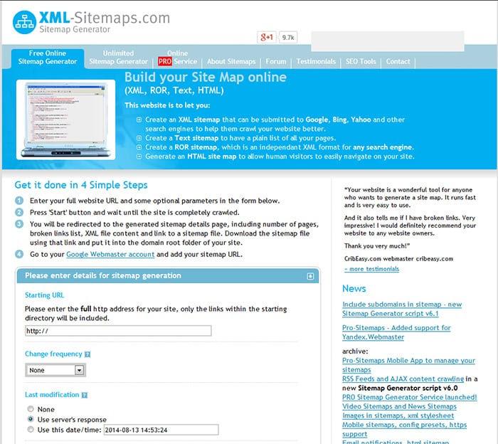 XML-Sitemaps توليد خريطة الموقع