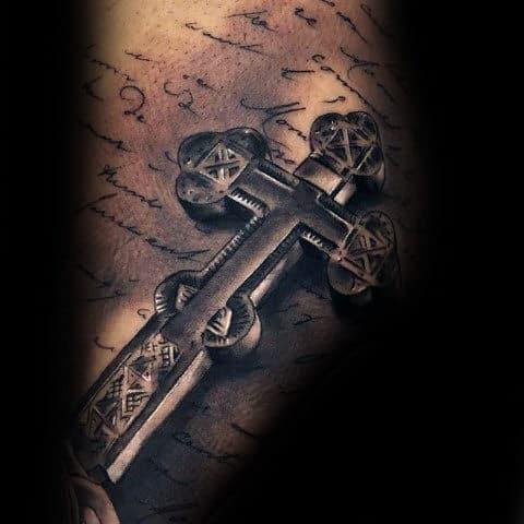 Creative 3d Mens Shaded Black And Grey 3d Cross Back Tattoo