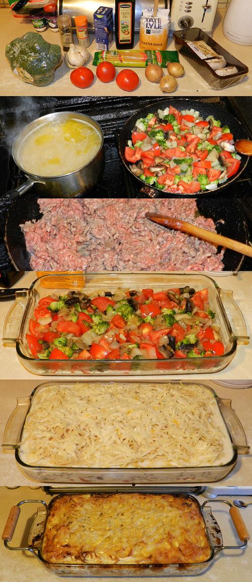 Making spaghetti dish with beef mince, onion, broccoli, vine tomatoes, flat mushrooms..