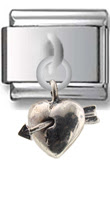Heart With Arrow Sterling Silver Italian Charm