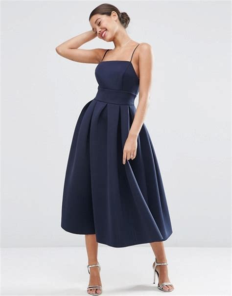 ASOS   ASOS WEDDING Strappy Pini Scuba Prom Midi Dress