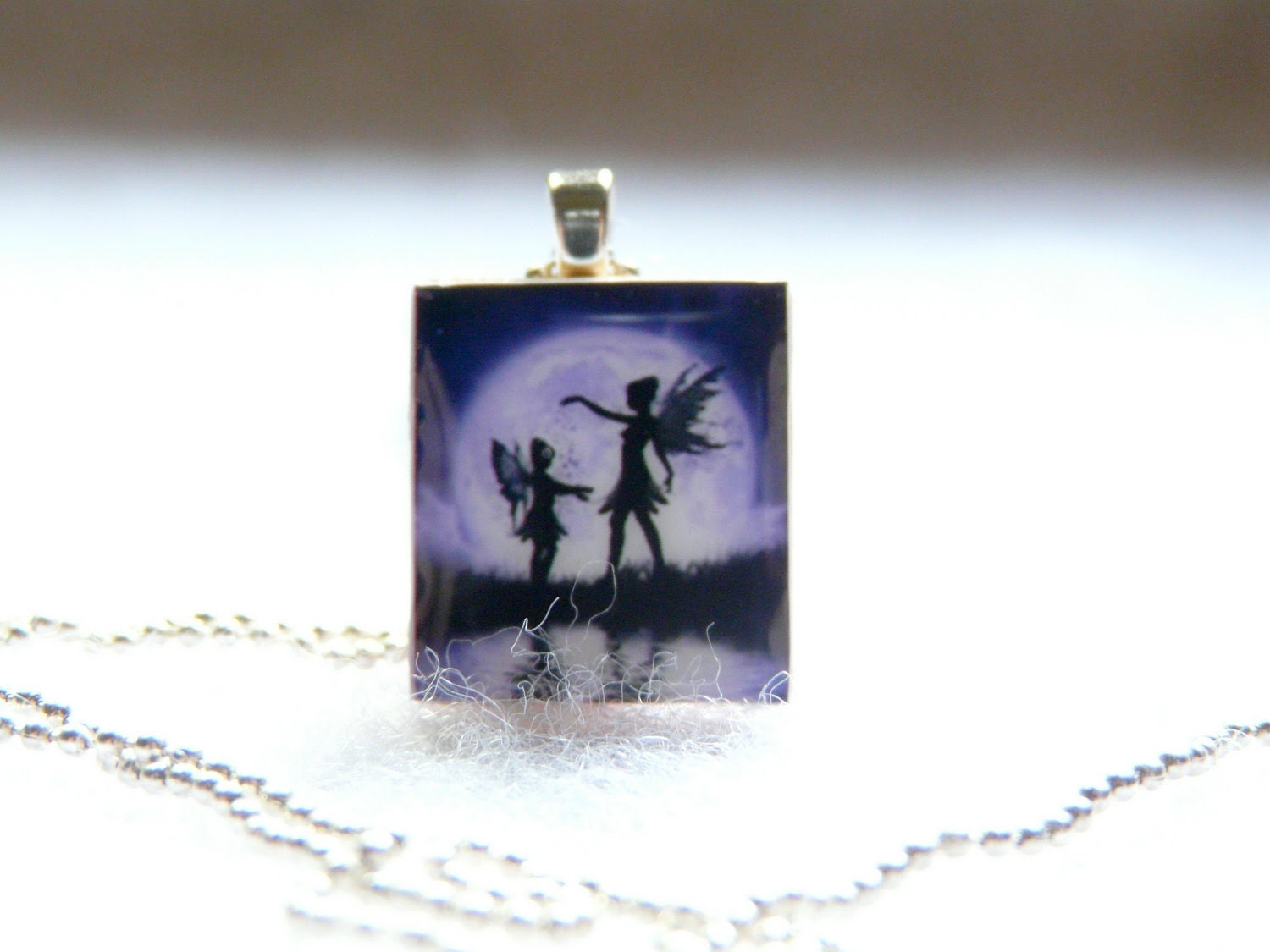 Purple Fairies Scrabble Tile Pendant With Silver Ball Chain Necklace - designsbygabby