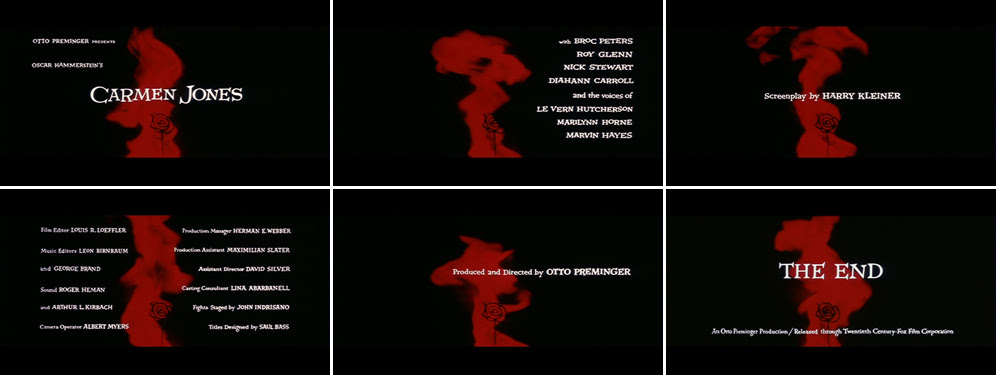 Saul Bass title sequence Carmen Jones 1954