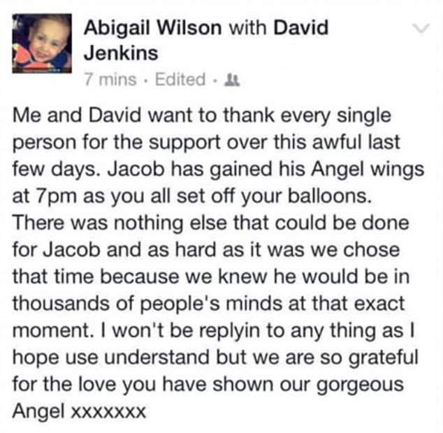 Tribute: Ms Wilson confirmed her son had 'gained his angel wings' in this message posted on Facebook