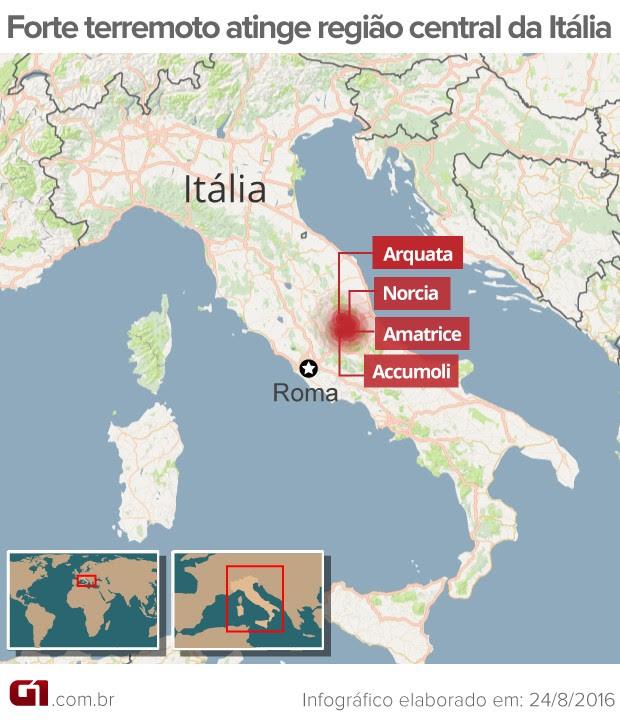 Arte terremoto Itália (Foto: Arte/G1)