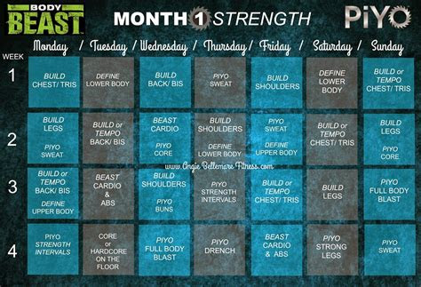 body beast piyo hybrid body beast workout schedule body