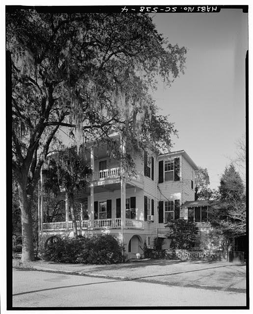 4.  EAST SIDE, FROM NORTHEAST - James Rhett House, 303 Federal Street, Beaufort, Beaufort County, SC