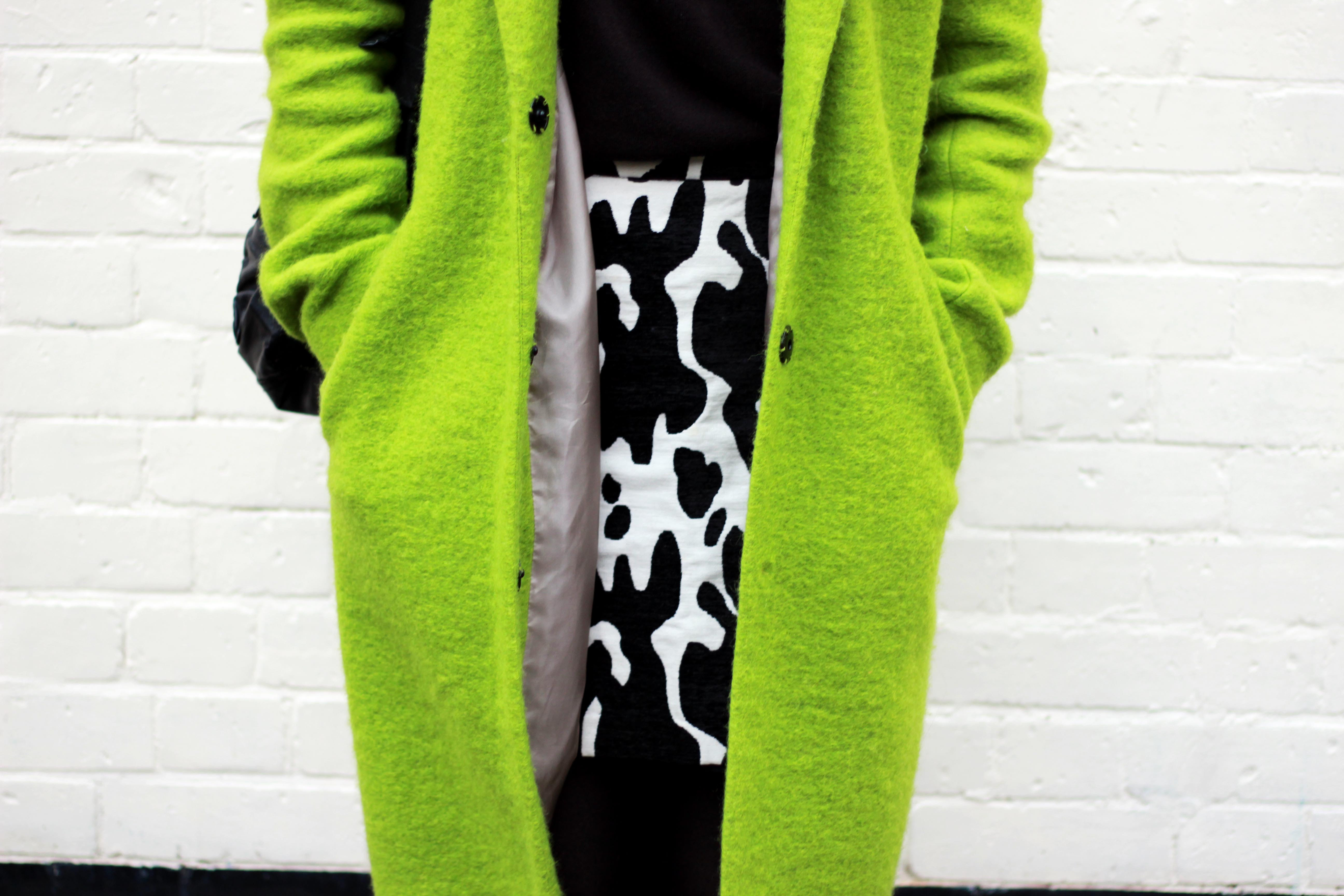 Topshop lime coat and Zara cow print skirt