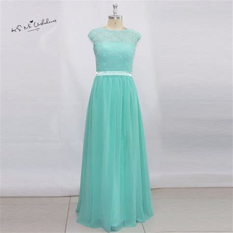Turquoise Lace Bridesmaid Dresses Long Elegant Prom