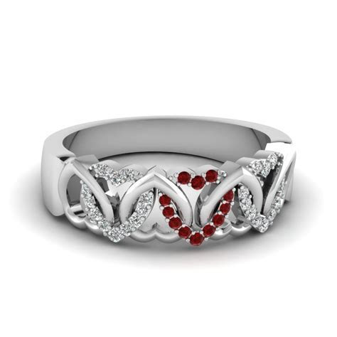 Interweaved Heart Design Diamond Wedding Band In 14K Rose