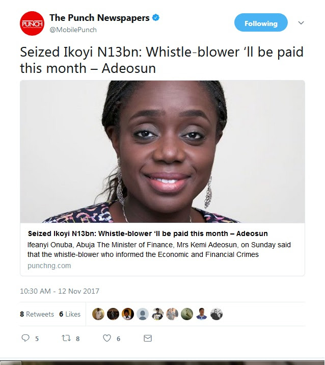 """Ikoyi Whistle-Blower Will Be Paid This Month"" – Adeosun"