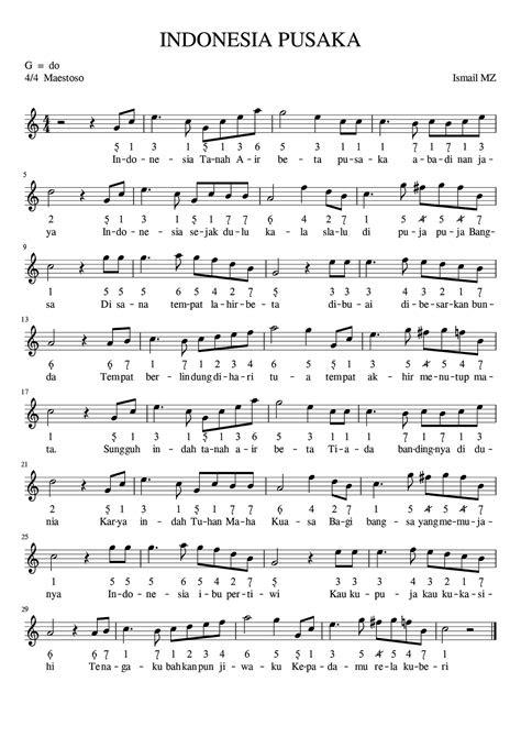 notasi lagu indonesia pusaka arpegio sheet