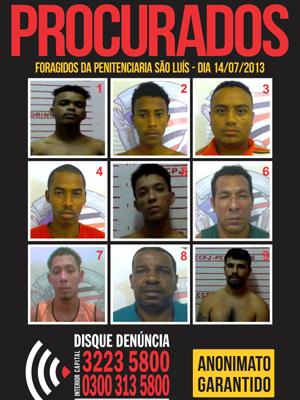 Procurados fugitivos do Presídio de Pedrinhas (Foto: Reprodução/TV Mirante)