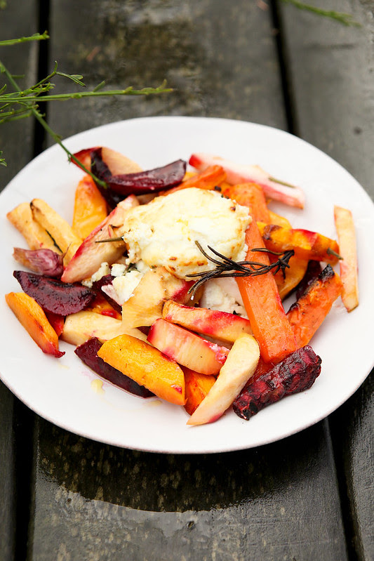 roasted roots and goat's cheese