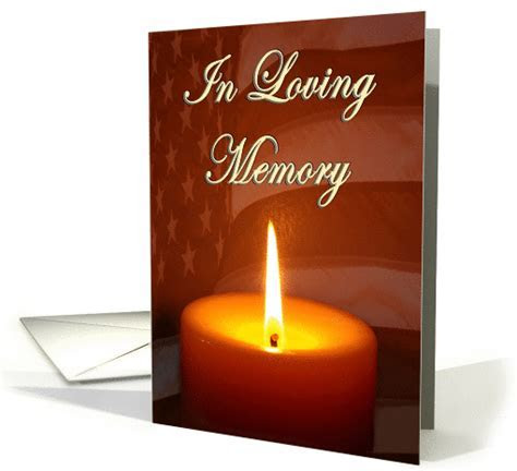 In loving memory lit candle and waving flag card (1119810)