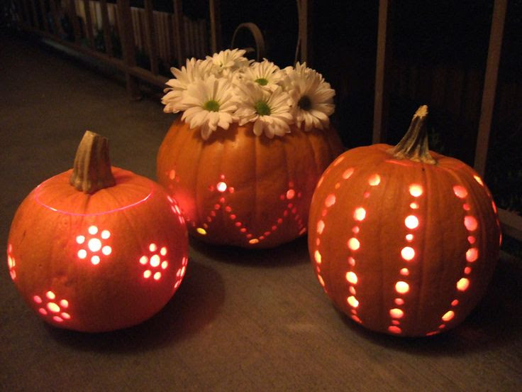 Drill-carved Pumpkins - totally doing this!