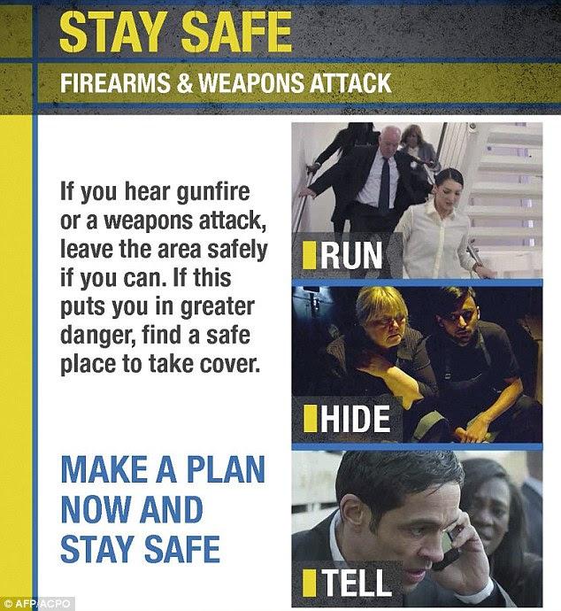 'Run, hide and tell' leaflets warning UK public of Islamic attacks