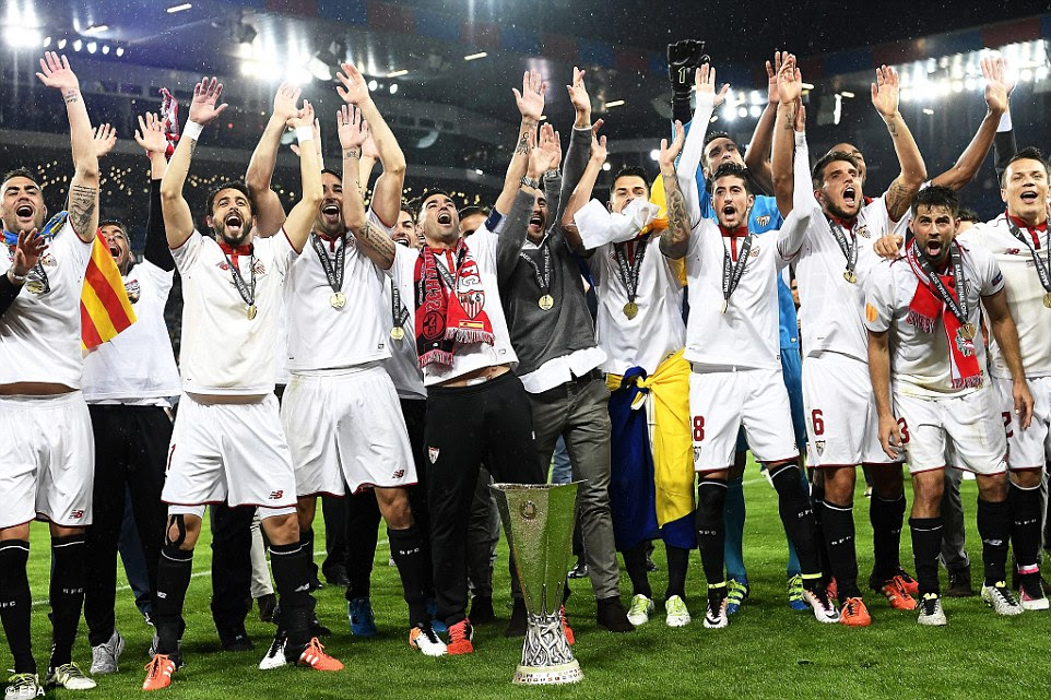 The Spanish side, who have not won an away game in La Liga all season, celebrate victory in front of their fans in Basle