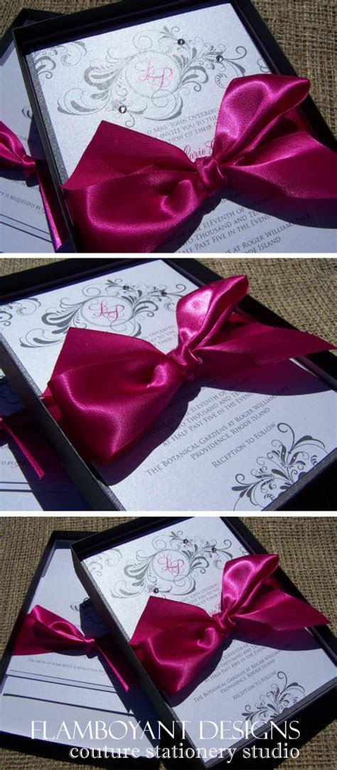 fuchsia silver boxed wedding invitations