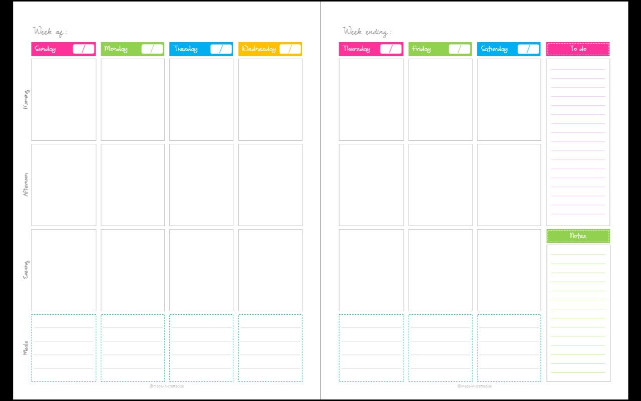 Calendar Any year Unfilled blank1 week 2 page by MadeInCraftadise