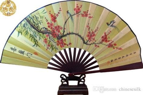 Decorative Large Bamboo Silk Hand Held Folding Fans