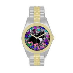 Freckles in Butterflies II - Tuxedo Cat Wrist Watch