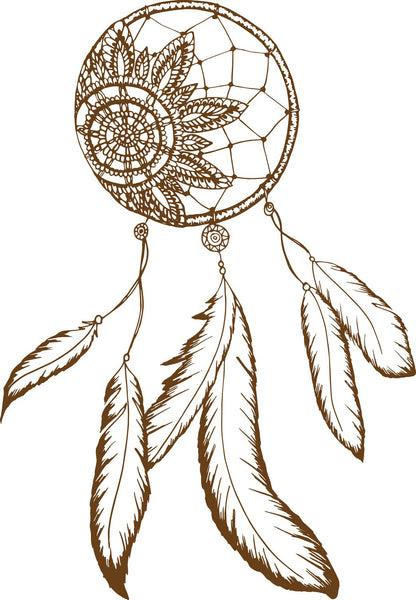 Dainty Brown Henna Flower Dream Catcher Drawing Vinyl Decal Sticker