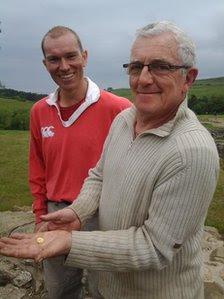 Deputy director of excavations Justin Blake, left, with Marcel Albert