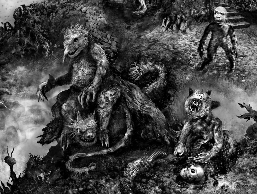 "Aeron Alfrey - Cover Illustration for ""Grimscribe"" by Thomas Ligotti (detail 1)"