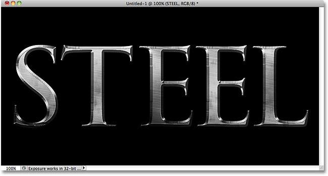 Photoshop steel text effect. Image © 2010 Photoshop Essentials.com.
