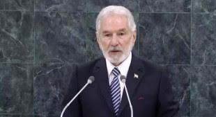 El Canciller de Nicaragua Samuel Santos habló ante la ONU. (Imagen tomada de la transmisión en vivo de la ONU.)