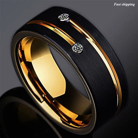 8mm Black Brushed Tungsten Ring Gold Grooved Line Diamond