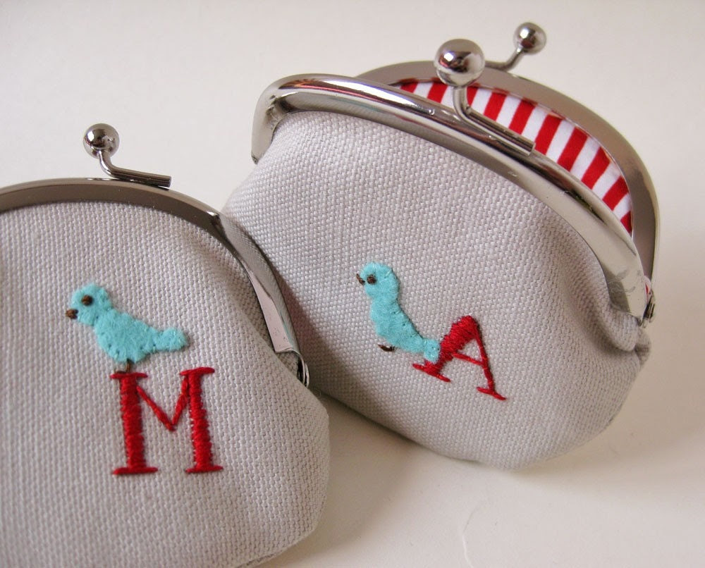 Personalized coin purse/mini pouch - initial and blue bird