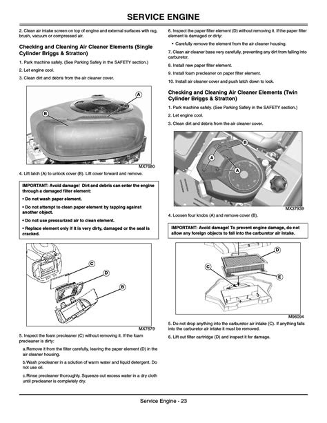 Service engine | John Deere z425 User Manual | Page 24 / 48