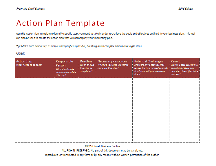 2nd Action Plan Format