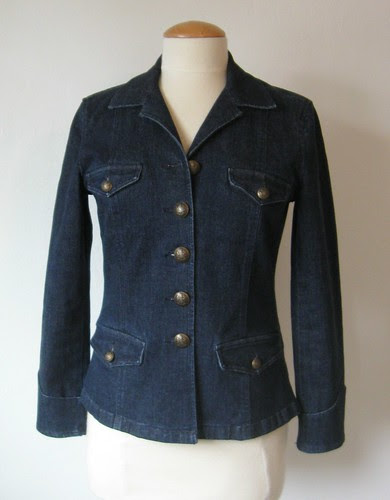 Blue denim jacket front buttoned