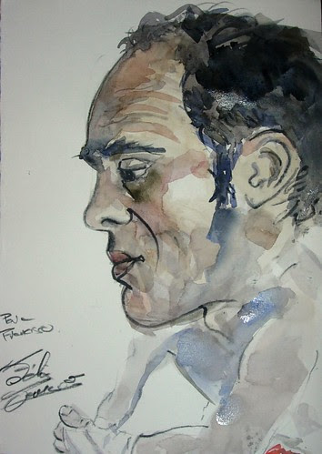 Francisco . The boxer . Watercolor in situ. by Félix Tamayo