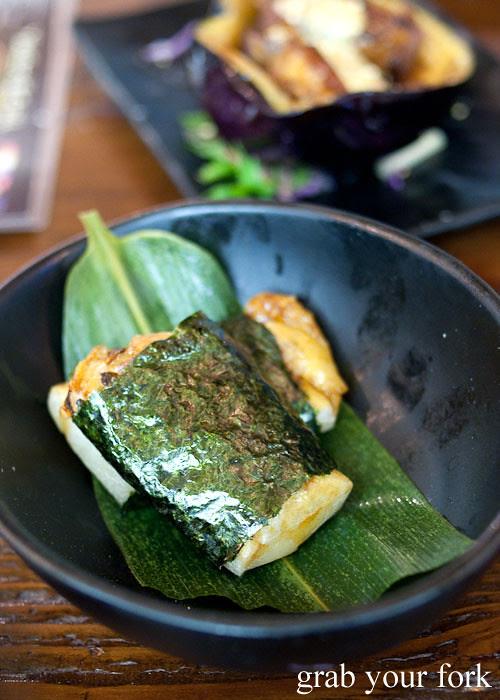 toasted rice cake at yebisu izakaya, regent place sydney